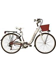 Bicicleta Cicli Adriatica Relax de mujer, Marco (aluminio, talla 45, cambio Shimano de 6 velocidades, 2 colores disponibles, Bianco / Bordeaux
