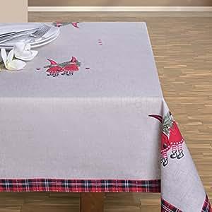 130x180 beige rot Tischdecke Weihnachten Nikolaus Weihnachtstischdecke Weihnachtsdeko rechteckig beige red MILKA