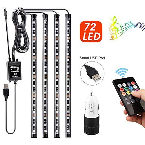Uliyang LED Innenbeleuchtung Atmosphäre Licht, 72 LED Streifen innenraum led 8 Colors, 12V LED Innenraumbeleuchtung mit ladegerät, Fernsteuerung für Zuhause oder Partydekoration