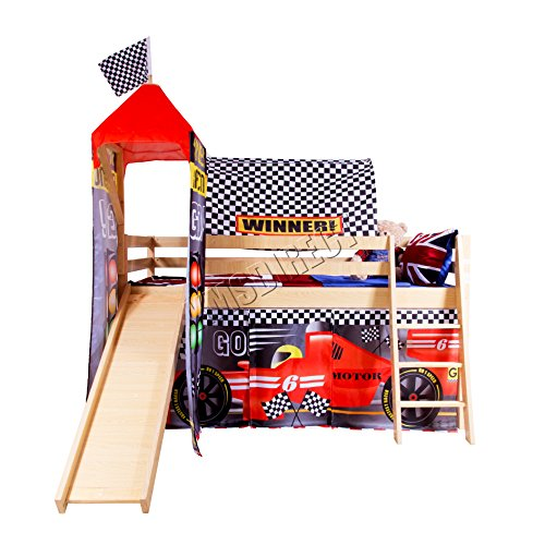 FoxHunter Childrens Wooden MDF Mid Sleeper Cabin Bunk Bed Kids Tent Slide Tower Single 3FT F1 Pine Frame No Mattress New