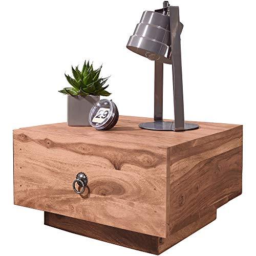 FineBuy Design Nachttisch Massiv-Holz Akazie 40x40x25 cm | Moderne Nacht-Kommode mit Schublade | Nachtschrank Natur-Holz Nachtkonsole