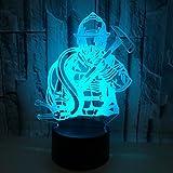 3D feuerwehrmann Nachtlampe 7 Farben ändern Touch Control LED Schreibtisch Tisch Nachtlicht mit bunten USB Powered für Kinder Kinder Familie Ferienhaus Dekoration Valentinstag Geschenk