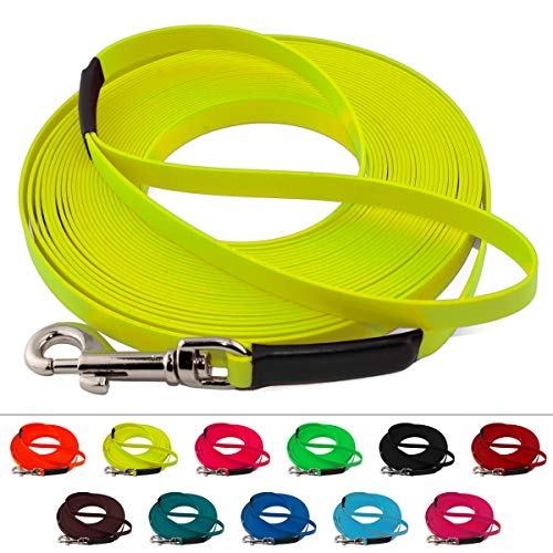 LENNIE Leichte BioThane Schleppleine, 16mm, Hunde 25-35kg, 2m lang, mit Handschlaufe, Neon-Gelb, genäht