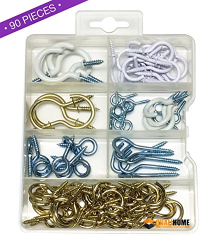 Cup Craft Kit (Premium Qualität Handlich Haken und Augen Sortiment Kit, 90Teile, inkl. Cup Haken, Augen, Vinyl-Haken, schraubbaren Haken und mehr)