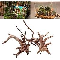 Caxmtu - Adorno de madera para acuario, diseño de tronco de árbol natural, 1 pieza