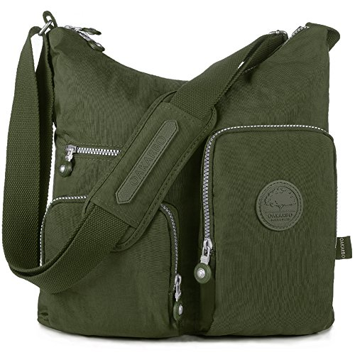 Oakarbo, Borsa a tracolla donna beige 940 Camel 1204 Army green
