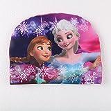 ChenStarUK bunte Kinder-Badekappe mit Komikfiguren für Jungen oder Mädchen, Frozen Purple, Einheitsgröße