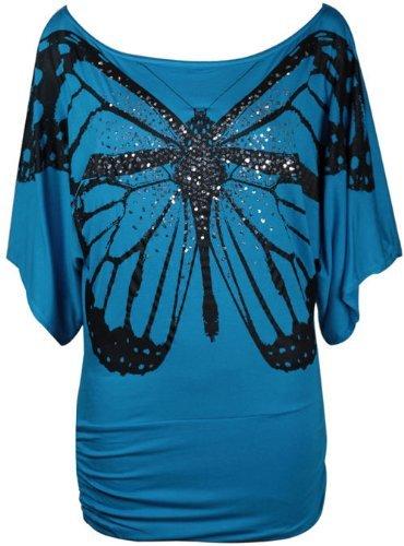 Fast Fashion Damen Baggy Oben Aus Schulter Pailletten Schmetterlingsdruck Glitter Flügel Türkis