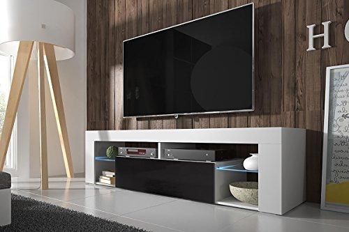 Hestia – TV Lowboard / TV Schrank (140 cm, Weiß Matt / Schwarz Hochglanz, optional mit LED-Beleuchtung) (Herzstück Bilderrahmen)