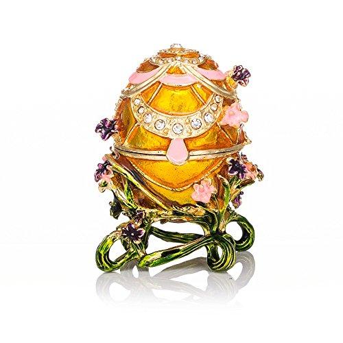 Qifu, Handbemaltes Ei im Fabergé-Stil, emailliert, dekoratives, aufklappbares Schmuck-Kästchen, einzigartiges Geschenk zur Heimdekoration -