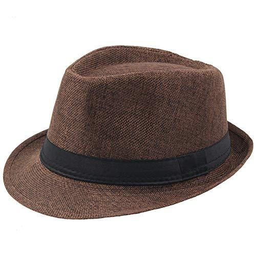 Coucoland Panama Hut Mafia Gangster Herren Fedora Trilby Bogart Hut Herren 1920s Gatsby Kostüm Accessoires (Braun)