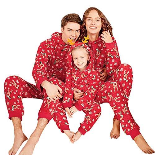 Riou Weihnachten Set Baby Kleidung Pullover Pyjama Outfits Set Familie Kid Baby Boy Mädchen Hood Strampler Overall Familie Pyjamas Nachtwäsche Weihnachten Outfit (S, Mom)