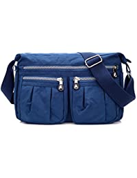 Women'S Multi Pocket Casual Multi Pocket Casual Handbag Travel Bag Messenger Cross Body Bag Tote Purse (Navy)...