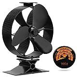 [ 2 años de garantía ] Eco Ventilador de estufa Accionado por calor gran flujo de aire accesorios estufa leña ventilador para estufa + Termómetro de e