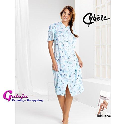 Cybele by Galeja Damen Nachthemd durchgehend mit Knöpfe 8 Größen 40 - 54 Sleepshirt Nachtwäsche + 1 Paar Feinkniestrümpfe Blautöne bedruckt