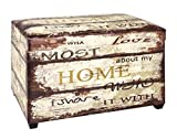 Haku Möbel Sitztruhe - MDF mit Kunstleder Vintage-gepolsterte Sitzfläche H 42 cm