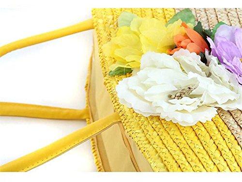 Tote tessuto a maglia di panno del fiore della paglia del fiore della spalla delle donne che lavorano a maglia il tatuaggio di estate di estate di viaggio di piacere , yellow yellow