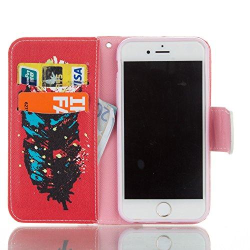 iPhone 6S Custodia, Felfy Flip in PU pelle Portafoglio Custodia Cover Gatto Design per Apple iPhone 6/6S, Portafoglio Wallet / Libro /Cuoio Chiusura Magnetica Porta carte di Protettiva Tasca Copertina C4