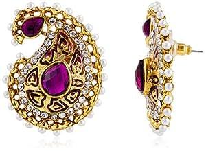 Ava Traditional Stud Earrings for Women (Golden) (E-VS-031)