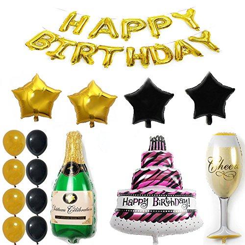 ezing Happy Birthday Kuchen Champagner Cup Flasche Folie Ballon Geburtstag Party Pack-Schwarz Gold Latex Ballon Dekorationen Party Supplies E Gold, Black,green,red