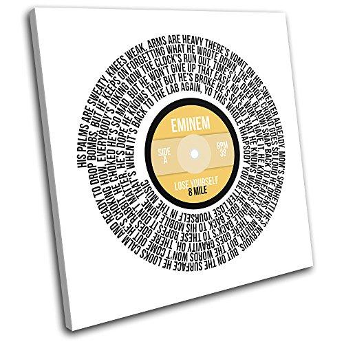 Bold Bloc Design - Eminem Lose Yourself Record Vinyl Song Lyric Musical 40x40cm SINGLE Boite de tirage d'Art toile encadree photo Wall Hanging - a la main dans le UK - encadre et pret a accrocher - Canvas Art P