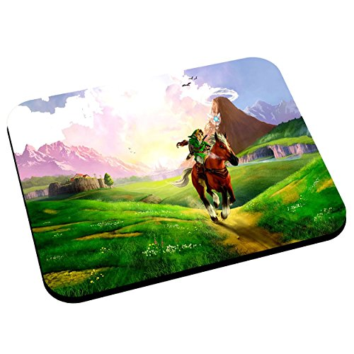 Tapis de souris zelda plaine hyrule a cheval jeux video