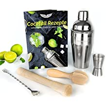 Cocktailshaker Komplett Set zum Mixen mit viel Zubehör: Profi Shaker + Messbecher + Barlöffel + Buchenholz Stößel und Zitronenpresse + Rezeptbuch …