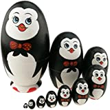Cute Animal Theme Penguin With Bowtie Egg Shape Wooden Handmade Nesting Dolls Matryoshka Dolls Set 10 Pieces For Kids Toy Birthday Christmas Gift Home Kids Room Decoration