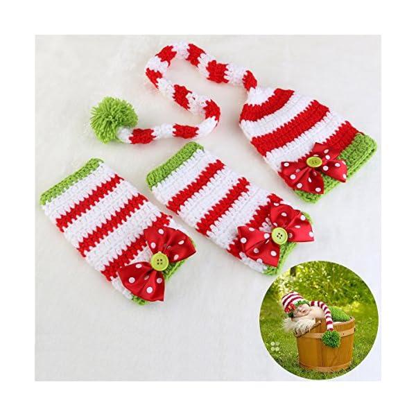 NUOLUX Disfraz Fotografía Props Crochet Sombrero y Ropa para Bebé en Navidad Día 4