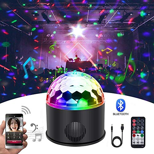 KB-SEVEN Discokugel 9 Farbe Mini Bluetooth Musik LED Party Licht Bunte Lichteffekte Licht Bühnenbeleuchtung Kristall Magic Ball mit Fernbedienung für Kinder,Bar, Party [Energieklasse A++]