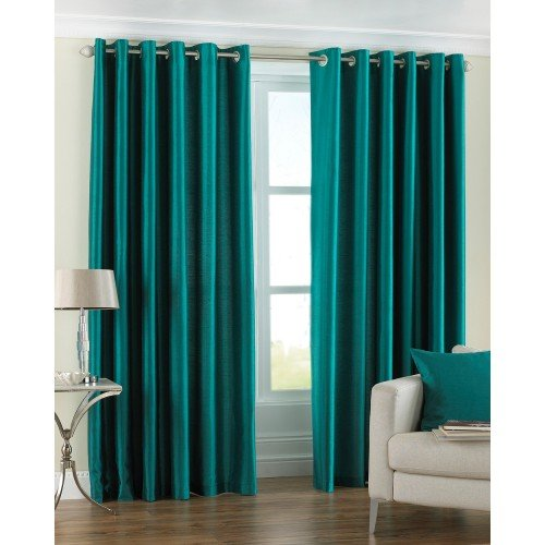 Riva Home Fiji Faux Silk Eyelet Lined Curtains, Teal, 66 x 90 Inch