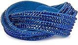 styleBREAKER weiches Strass Armband, eleganter Armschmuck mit Strassteinen, Wickelarmband, 6x1-Reihig, Damen 05040005, Farbe:Blau / Blau