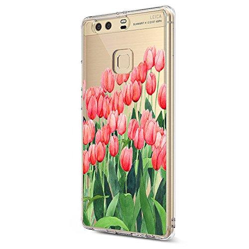 Pacyer Huawei P9 Hülle Silikon Ultra dünn Transparent Handyhülle Huawei P9 Schutzhülle Silikon Rückschale TPU für HUAWEI P9 Case Cover Rot Blume Mädchen Macaron (Blumen 4)