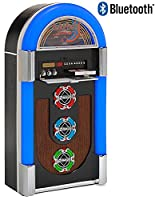 BLUETOOTH Version CD JUKEBOX with AM / FM Radio + iPod / iPhone / MP3 Player 3.5mm Jack - 7 colour LED lit �?? Real Wood Veneer Floor Standing Juke Box with Chrome finish (Over 1 metre tall) - (Glossy BLACK Colour)