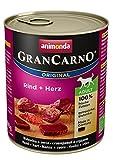 animonda GranCarno adult Hundefutter, Nassfutter für erwachsene Hunde, Rind + Herz,  6 x 800 g