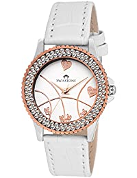 Swisstone VG515CP-White Dial White Leather Strap Analog Wrist Watch For Women/Girls