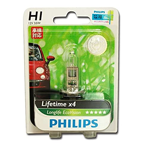 Philips 0730516 12258LLECOB1 LongLife EcoVision H1 Headlight Lamp Blister Pack