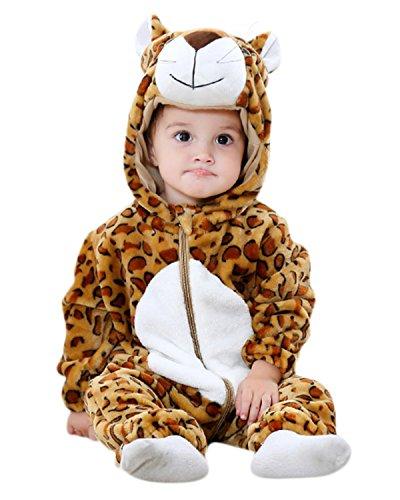 Kidsform Baby Flanell Winter Strampler Outfits Bekleidung Karikatur Tier Jumpsuit Spielanzug Spielzug Playsuit Leopard 2-3Y Leoparden-strampler