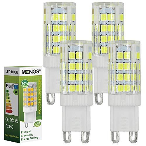 MENGS 4 Pacco da Lampadina a LED G9 5W (equivalenti a 40W) Luce a LED Lampadine a risparmio energetico Bianco Freddo 6000K, AC 220-240V, 480LM