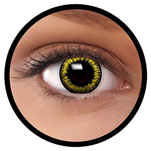 FXEYEZ® Farbige Kontaktlinsen gelb Werwolf + Linsenbehälter, weich, ohne Stärke als 2er Pack - angenehm zu tragen und perfekt zu Halloween, Karneval, Fasching oder (Red Wolf Kostüm Kontaktlinsen)