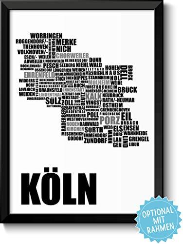 KÖLN - Bild mit Stadtbezirken - Rahmen optional - Geschenkidee Geburtstag Umzug Einzug Einweihung