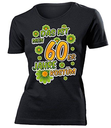 Golebros 60er Jahre Kostüm Frauen Tshirt Karneval Fasching Motto Schlager Party Schlageroutfits Zubehör Paarkostüm Perücke Hut Handtasche Weste - 60er Jahre Motto Party Kostüm