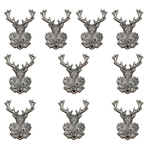 FENICAL 10 stücke Mini Deer Charm Anhänger Antik Silber Bronze Gold Feder Charme für DIY Traumfänger Halskette Armband Schmuck Machen (Antik Silber)