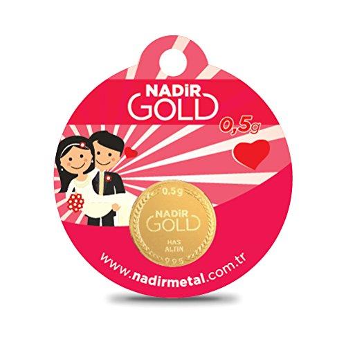 Nadir Rundbarren Goldbarren Goldgeschenke Hochzeitsgeschenke, 0,5 Gramm Gold mit Geschenkbeutel (Gramm-türkisch)