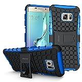 ykooe Galaxy S6 Edge Plus Hülle,TPU Ständer Handyhülle für Samsung Galaxy S6 edge+ Dual Layer Hybrid Handy Schutzhülle Drop Resistance Case für Samsung S6 edge+ Smartphone, (Blau 5,7 Zoll)