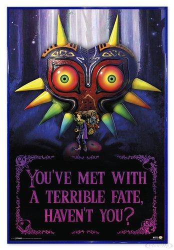 The Legend of Zelda Poster Terrible Fate, Majora's Mask (94x63,5 cm) gerahmt in: Rahmen blau