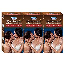 Durex Kohinoor Condoms - 10 Count (Pack of 3, Silky Chocolate)