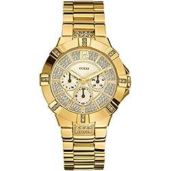Guess W13573L1 - Reloj analógico de cuarzo para mujer con correa de acero inoxidable, color dorado
