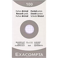 Exacompta 13201E Etui refermable de 100 fiches bristol 7,5 x 12 cm quadrillée 5 x 5 non perforées Blanche