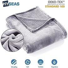 HYSEAS Manta suave de microfibra, 180 x 220 cm, Gris claro, cálida con tacto de terciopelo para sofá o cama, anti-arrugas y transpirable(Disponible en varios colores y tamaños)